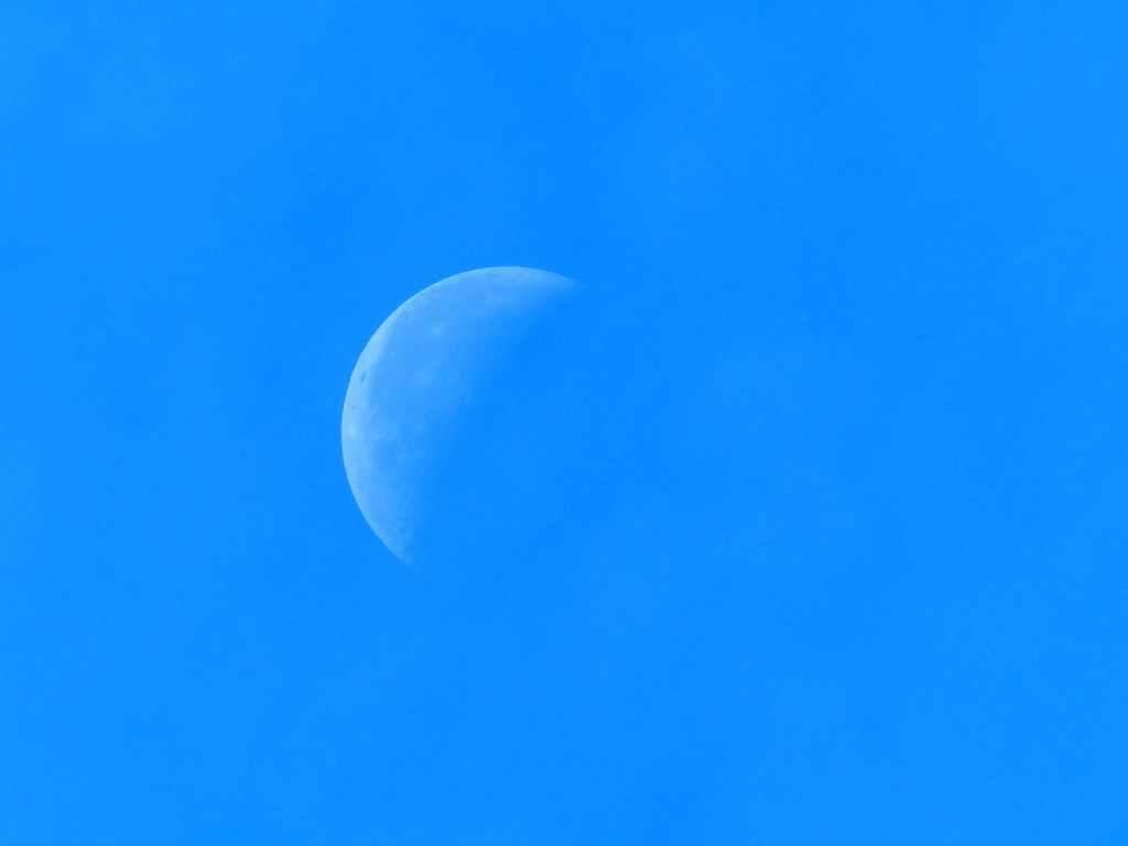 sky clouds blue half moon