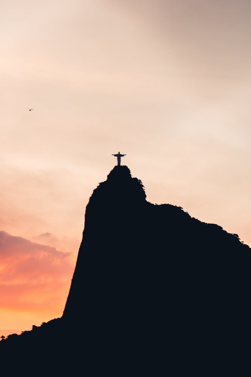 black and white silhouette of christ the redeemer
